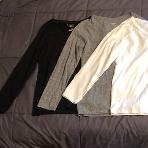 3 Large v neck long sleeve shirts